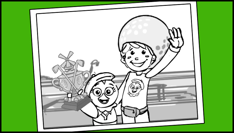 A black and white photograph of Chica and Stitches, smiling and holding up a miniature golf trophy.