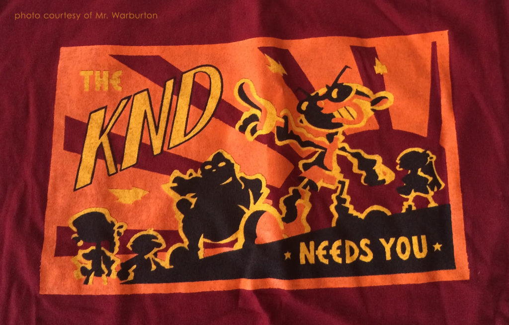 """Sector V drawn in limited palette Communist propaganda style with caption """"The KND needs you""""."""