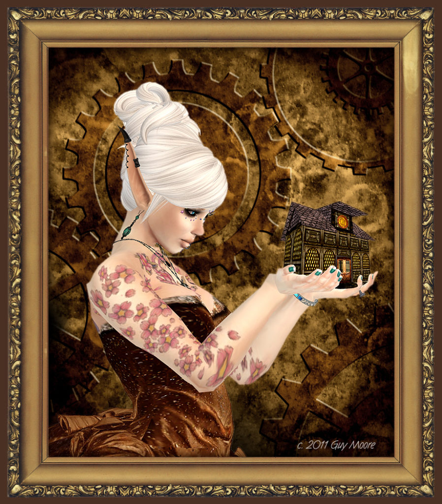 framed image of steampunk woman holding a model of a house