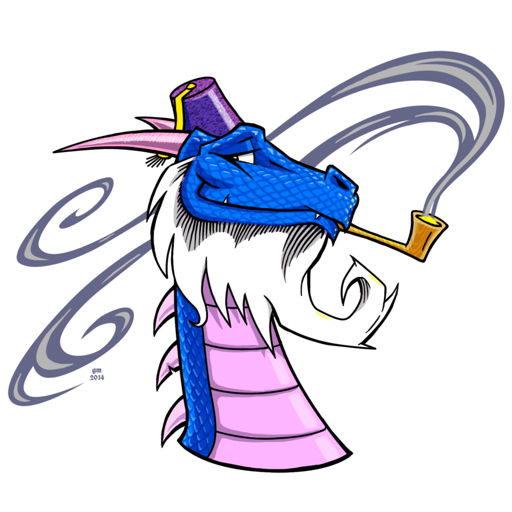 blue and pink dragon with a white beard, wearing a purple fez and smoking a pipe