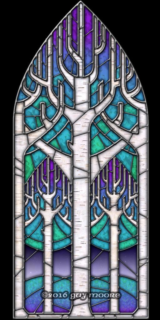 interlaced birch branches in gothic pointed-arch window frame