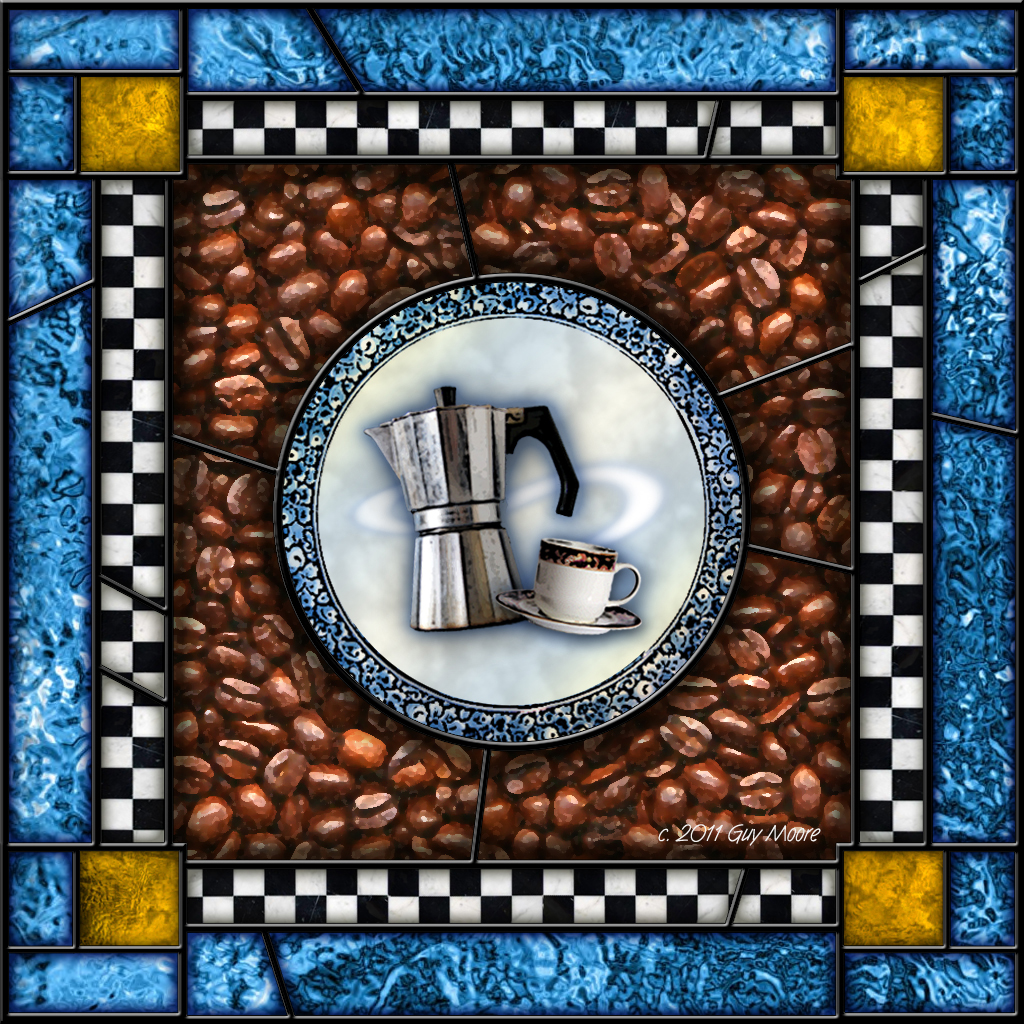 coffee cup and pot over a background of Delft plate and coffee beans