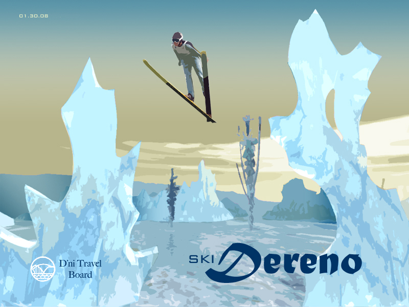 "skiier jumping over icy landscape with caption ""Ski Dereno"" and ""D'ni Travel Board"" logo"