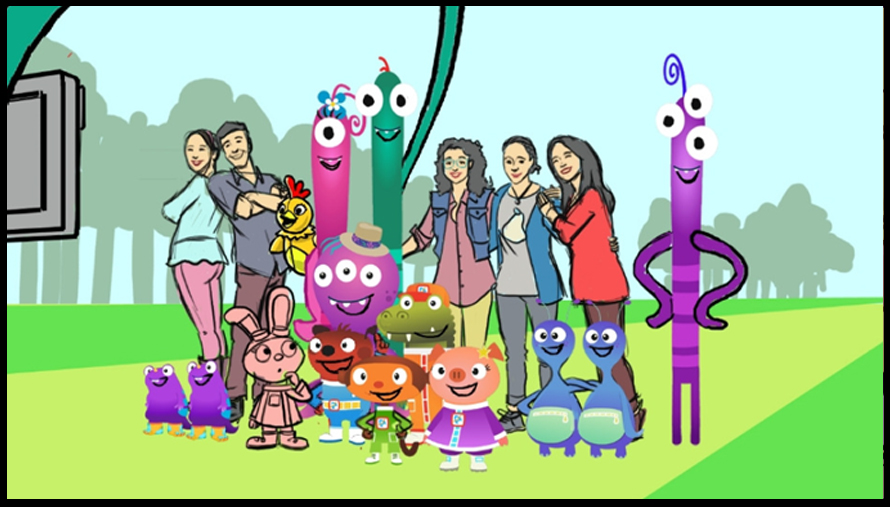 Sprout characters, live-action hosts and aliens, all posing together for a snapshot.