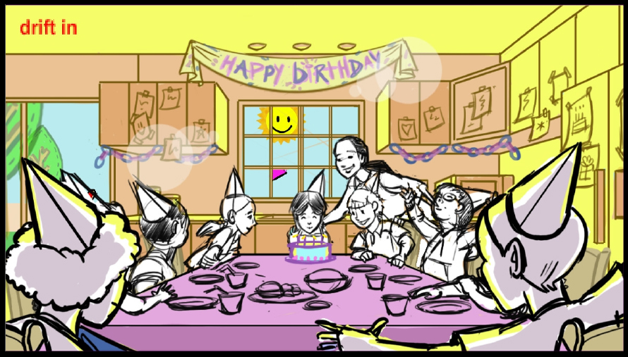happy children attending a birthday party in a suburban kitchen